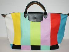 Longchamp x Jeremy Scott Le Pliage TV Color Bar Duffel Travel Bag France NWT