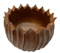 MCM teak wood bowl hand carved tulip shape dark brown vintage 1969 Thailand