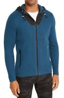 INC Mens Sweater Blue Black Size XL Contrast Full Zip Ribbed Knit Hooded $99 219