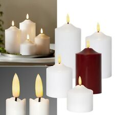 "LED Pillar Candle 3D Flame "" with Timer Flickering Genuine-Wax Block"