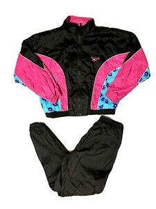 RARE Vintage 90s Reebok Track Suit Womes L Windbreaker Pants Set Fuschia Green