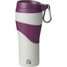 Trudeau Maison (Corona) Travel Coffee Tumbler, 16 oz. Matte Grey w/Purple Trim