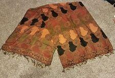 """Kashmiri Mumtaz shawl, India, HB products, 30""""x80"""". orange/black"""