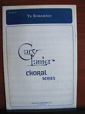To Remember by Gary Lanier - 1984 sheet music gospel - vocal, piano  VP-6111