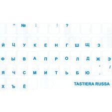 LETTERE ADESIVI TASTIERA RUSSO CIRILLICO UCRAINO TRASPARENTE BLU PC BLUE