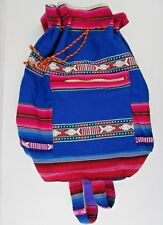 Mexican Drawstring Backpack Bright Colors Blue Multi-Colored