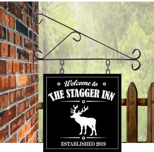 Personalised Hanging Bar sign, Stag Bar Sign, Pub Man Cave Home Bar sign 28x28