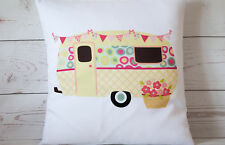 "Yellow Caravan - 16"" cushion cover retro shabby vintage chic - UK handmade"