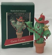 +Hallmark Cowboy Cactus Keepsake Ornament Christmas Lights Ten Gallon Hat 1989