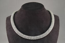 18k White Gold Bead Textured Choker Necklace w/ Moon Stone & Diamonds on Clasp