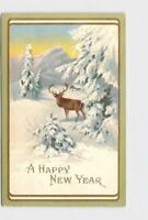 PPC POSTCARD NEW YEARS STAG IN SNOW COVERED FIELD EMBOSSED