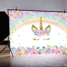 Rainbow Unicorn Birthday Backdrop Pink Floral Unicorn Backdrops 5x3ft Vinyl New