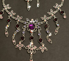Schmuckset Brautschmuck Lila Blumen Halskette Ohrringe Violett Bollywood Neu