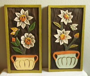 2 Vintage Carved Wood Painted Flowers Butterflies Wall Art Plaques MCM / Hippie