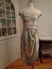 DAVID MEISTER 100% silk oriental print cocktail strapless dress women's 6 USA
