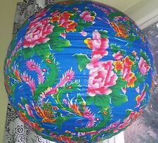 Japan Lampenschirm Stofflampenschirm Stoff Lampe Rund 40cm Sass&Belle Blau Pink