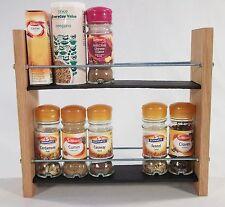 Oak Slate Design Spice / Herb Rack 2 Tier, 12 Jar - Modern Contemporary Style