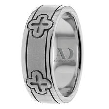 Christian Religious Wedding Ring 7.5mm Wide 14K Gold Mens Wedding Band