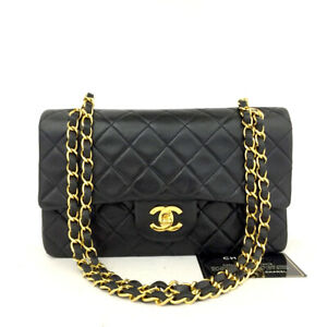 CHANEL Double Flap 23 Quilted CC Logo Lambskin w/Chain Shoulder Bag Black/60982