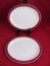 McNicol China Restaurant Ware  Set of 2 Oval Single Platter Red Airbrush  8""