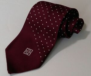 """Vintage Givenchy Men's Polyester Tie Maroon & White Dots & Logo 4""""Wide 55""""Long"""