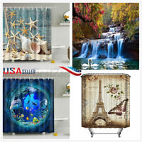US Christmas Waterproof Shower Curtain Polyester Decor Bathroom Art W/ 12 Hooks