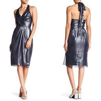 Vera Wang Womens Navy Blue Metallic Chiffon Halter Dress 4 Party Cocktail NEW