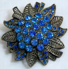 STUNNING VINTAGE BLUE RHINESTONE ESTATE BROOCH ENCRUSTED FLOWER & LEAVES