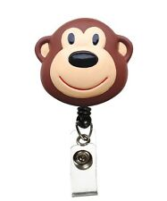Medical Badge 3-D ID Tag Clip Holder Retractable Brown Monkey Prestige New