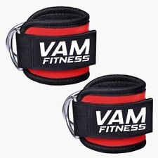 Ankle Straps Gym Leg Cable attachment Multi Weight Lifting D Ring (Pair) Vam
