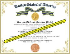 KOREAN DEFENSE SERVICE MEDAL CERTIFICATE ~ With Free Printing (Any Branch)