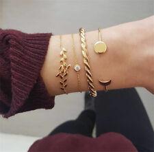4PCS Women Bracelet Set Moon Leaf Shape Crystal Open Bracelets Jewelry Gifts New