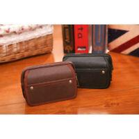 Men's Fashion PU Leather Solid Handle Bags Zipper Handbag Purse Day Clutches