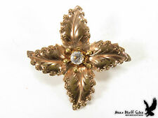 Lapel Scarf Pin Brooch Crystal Stone Vintage Victorian Stamped Brass Leaf Collar