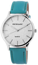 Excellanc 1527 Ladies Watch Turquoise Leather Imitation And Glitter Dial Face