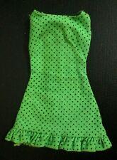 Vintage Mod Barbie: 1969 Pak Sun Shiner ~ Green w/ Black Polka Dots Dress HTF