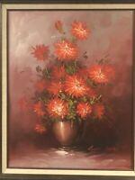 Red Rose Floral Still Life Original Oil Painting Robert Cox Framed Signed