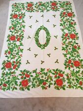 Christmas Holiday Poinsettia Holly Red Green Tablecloth Oblong Rectangle 48x70