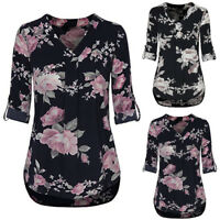 Women Ladies 3/4 Cuffed Sleeve Chiffon Floral V Neck Casual Blouse Shirt Tops