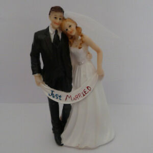 Cake Figurines Cake Decoration Cake Topper Wedding Pair Groom Bride Banner 13cm