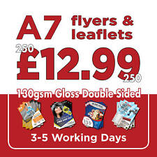 250 A7 Full Colour Double Sided Flyers / Leaflets Printed 130gsm Gloss