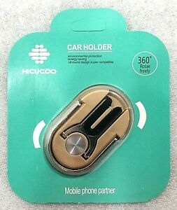 HICUCOO 3 in 1 Multi-purpose Cell Phone Ring Holder Kickstand Car Mount Gold NEW