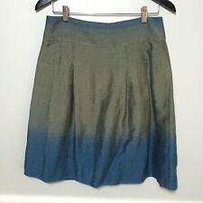 VINCE Skirt Blue Gray Stripe Pleated A Line Ombré Sz 6 Linen Cotton Above Knee