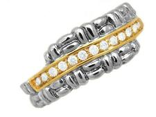 Philip Andre 18K Gold & Sterling  Silver 1/4ct TW  Diamond Designer Ring size 7