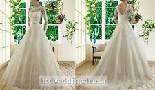 Custom Long Sleeve White/Ivory Lace Bridal Gown Wedding Dress 6-8-10-12-14-16+