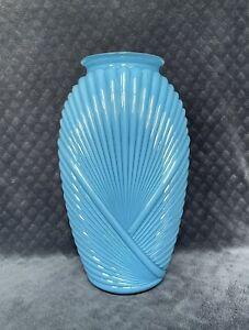 "Vintage 1980s Geometric Art Deco 13"" Blue PLEATED Draped VASE Excellent FLAWLESS"
