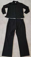 Mimi Maternity Pinstripe Outfit Size Large Shirt Pants Black Brown Stripes Suit