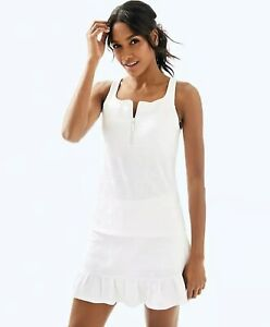 Lilly Pulitzer Luxletic Kalila Tennis Bra Tank Top Perfect Match Jacquard White