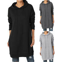 Loose Hoodies Dress Women Long Sleeve Jumper Sweatshirt Pullover Top Plus S-3XL