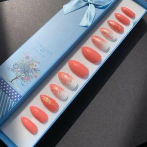 Painted False Nails Stiletto (Or Any Shape) Coral Orange Summer White Mix